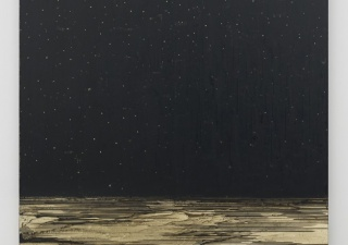 Teresita Fernández. Golden (Onyx Sky), 2014. Gold chroming and India ink on wood panel. 80 x 64 x 2 inches. Private collection, courtesy Anthony Meier Fine Arts, San Francisco