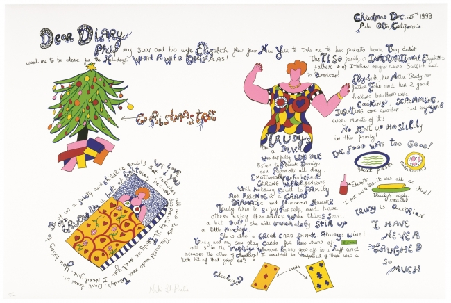 CA diary Christmas (EK) Californian Diary (Christmas), 1993 Serigraph 80 x 120 cm Niki Charitable Art Foundation, Santee. VEGAP Madrid 2019