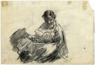 Joaquín Sorolla. Clotilde leyendo, ca 1888. Lápiz compuesto sobre papel continuo. Museo Sorolla — Cortesía del Museo Sorolla