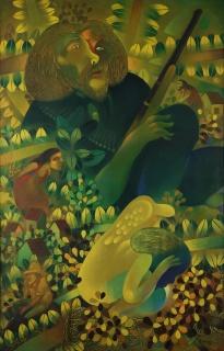 Pedro Pablo Oliva. El Heroe y sus Sueños 1973 , oil on canvas,  39 x 27,5 in. — Cortesía de Latin Art Core