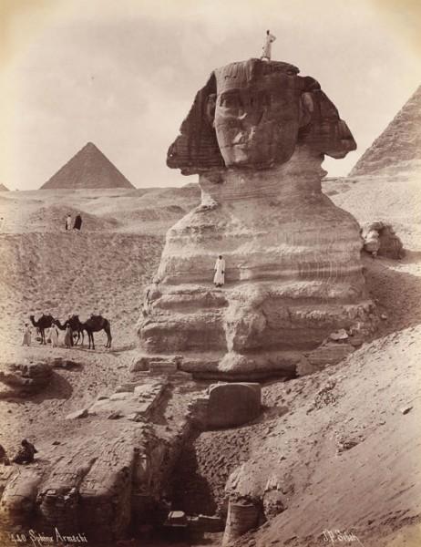 Johannes Sebah, La esfinge tras su excavación, Egipto, c. 1870