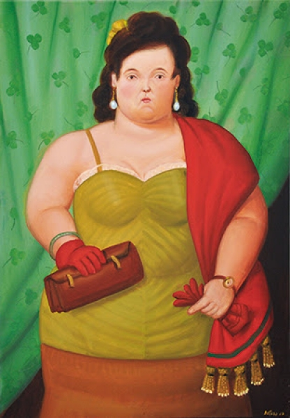Fernando Botero, Woman with Her Purse, 2010. Oil on canvas, 31 9/10 × 22 inches.