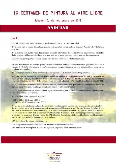 """Bases IX Certamen de Pintura al Aire Libre """"Ciudad de Andújar"""""""