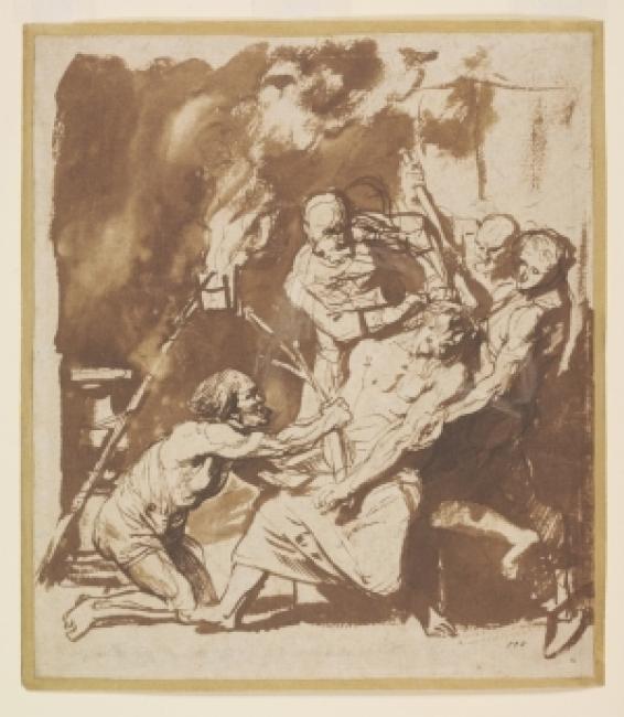 Anthony van Dyck (1599-1641), Cristo coronado con espinas, antes de 1621. Pluma y tinta marrón, con aguada marrón sobre papel © Victoria and Albert Museum — Cortesía de la Fundación Barrié