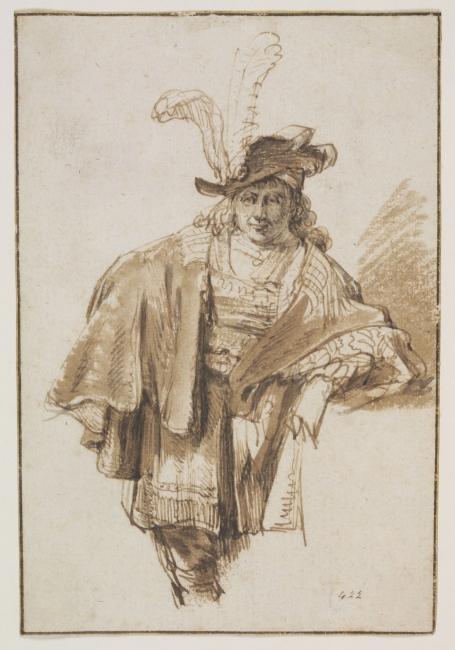 Atribuido a Gerbrand van den Eeckhout (1621-1674). Hombre de pie a tres cuartos con sombrero de pluma y ricas vestimentas, sobre 1560. Pluma y tinta, con aguada marrón sobre papel © Victoria and Albert Museum — Cortesía de la Fundación Barrié