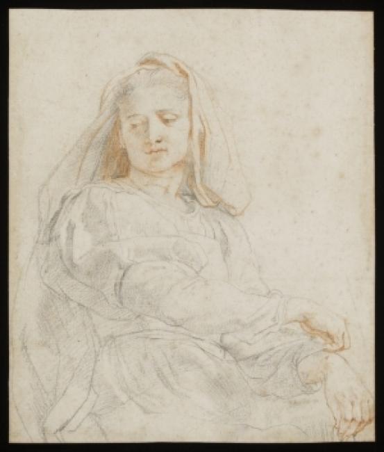 Peter Paul Rubens (1577-1640). Estudio de mujer sedente (La Virgen), sobre 1606. Tiza negra y roja, con toques de contraste blanco sobre papel © Victoria and Albert Museum — Cortesía de la Fundación Barrié