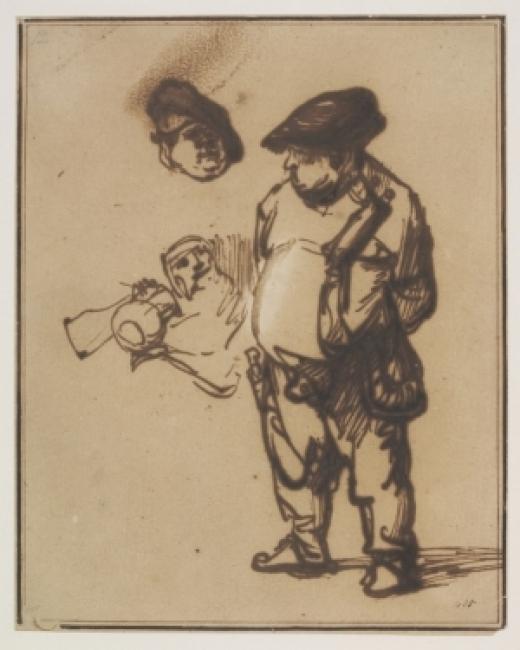 Rembrandt van Rijn (1606-1669). Estudio del Actor Willem Ruyter como campesino, sobre 1634-8. Pluma y tinta ferrogálica con blanco opaco sobre papel © Victoria and Albert Museum — Cortesía de la Fundación Barrié