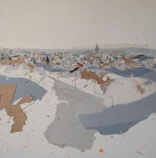 """José Manuel Albarrán Pino, Cartografía de un paisaje. Mixta sobre tabla, 73x73 cm. — Cortesía de la Galería de Arte Contemporáneo """"Cristóbal Bejarano"""""""