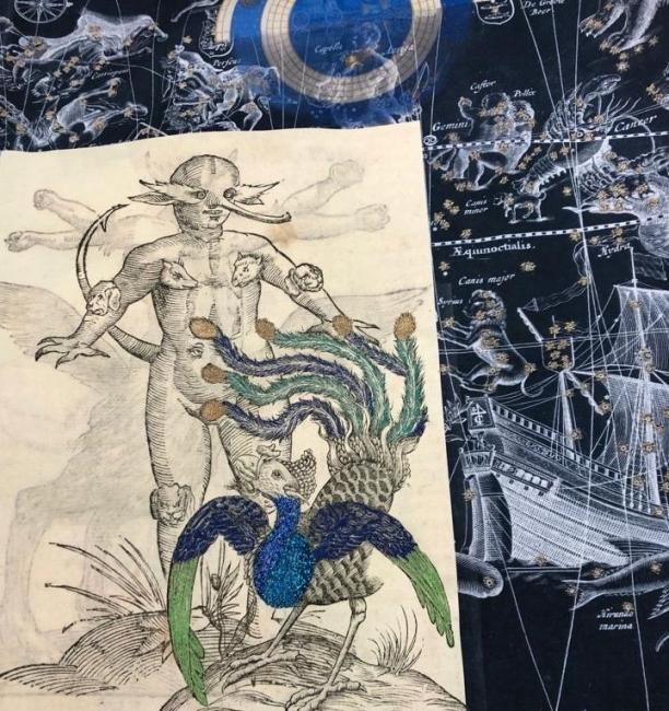 © Cecilia Paredes. ST, Serie Celestials, 2019. Impresión sobre lino con bordado — Cortesía de la Galería Blanca Berlín