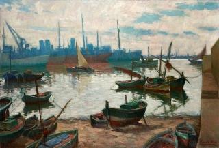 Banqueta en gris. Jacint Olive (1896 - 1967) 100 x 147 cm, 1957