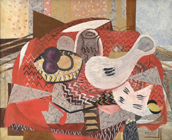 Georges Braque, Naturaleza muerta con mantel rojo, 1934