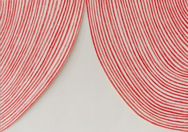 Sabine Finkenauer, Cortina. 2014, dibujo y collage sobre papel, 42x59 cm.