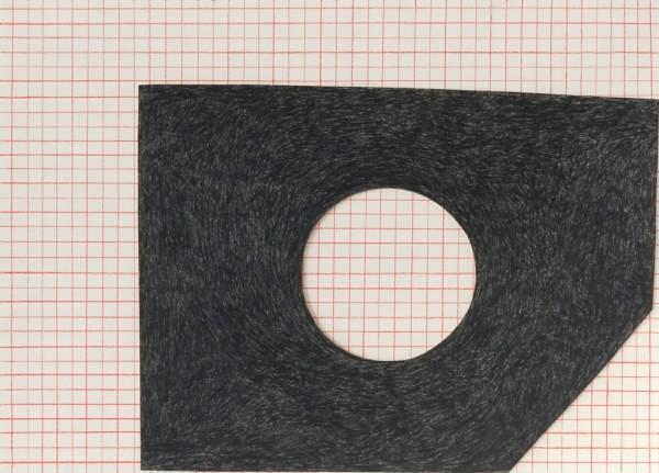 Sabine Finkenauer. Agujero. 2014. Lápiz y collage s. papel. 50x70 cm.