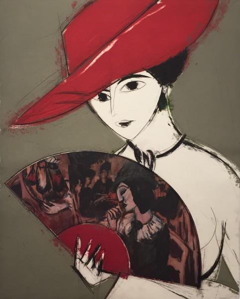 Manolo Valdés. Pamela, 124 x 95 cm, grabado al aguafuerte enriquecido a mano