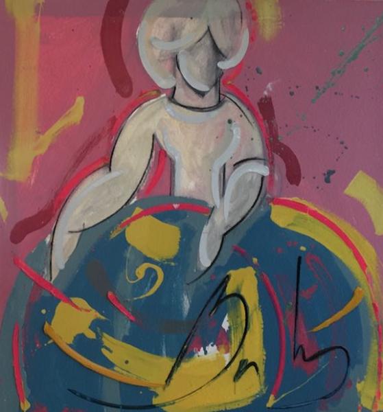 Menina 90 x 90 cm Óleo sobre lienzo