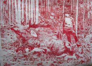 LA MEJOR PIEZA DEL AÑO. 242 x 180 cm. xilografia sobre lienzo