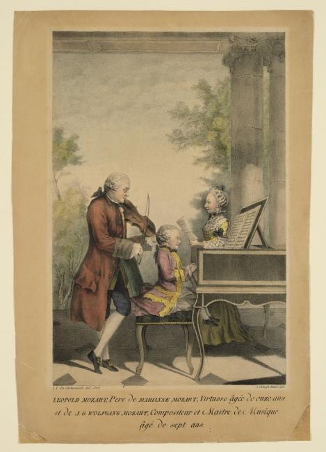 """Lois de Carmontelle (1717-1806), Leopold Mozart, Maria Anna Mozart y Wolfgang Amadeus Mozart, 1764. Litografía coloreada a mano. V&A: S.2928-2009. © Victoria and Albert Museum, Londres — Cortesía de Obra Social """"la Caixa"""""""
