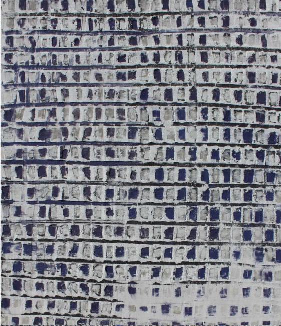 ADALINA COROMINES, Blau sobre blanc, 183 x 155_Matèric i tècnica mixta sobre fusta — Cortesía de El Liceu