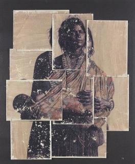 MARTA FÀBREGAS, Colonitzada nº 005. 120 x 100. Fotografia antiga, tecnica mixta collage amb paper d'aquarel·la sobre tela — Cortesía de El Liceu