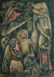 Laxeiro, sin título, 1937. técnica mixta sobre papel, 68 x 48,5 cm. Colección particular — Cortesía de la Fundación Laxeiro