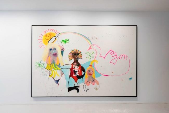 BEL FULLANA, Alitas de pollo, 2017. Acrílico, óleo y spray sobre lienzo, 200 x 300 cm. Imagen: B. Sastre Photo. Cortesía Galería Fran Reus — Cortesía del Centro de Arte Caja de Burgos CAB