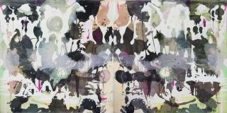 GABRIEL SILVA: UNTITLED, 2016-17, mixed media on canvas, 66.93 x 133.86 in. 170 x 340 cm.