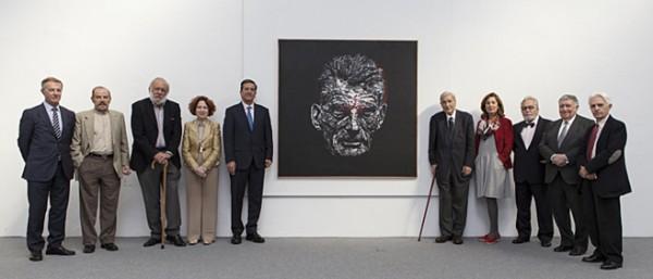 Parte del Jurado junto al cuadro ganador del 29º Premio BMW de Pintura.