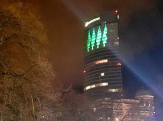 Ensayo espectáculo de luz de la Torre Iberdrola