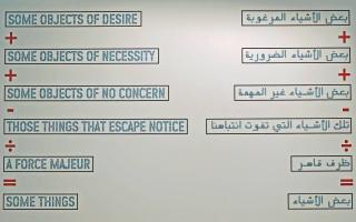 Lawrence Weiner, Algunos objetos de deseo, 2004 Abu Dhabi – Cortesía del Museu d'Art Contemporari de Barcelona (MACBA)