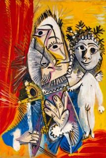 Pablo Picasso, Mousquetaire à l'épée et amour, 1969. Museo de Bellas Artes de Asturias.Colección Pedro Masaveu. Cortesía del Museo de Bellas Artes de Asturias