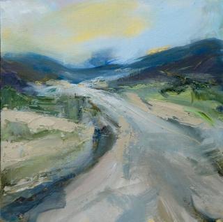 Sarah Jane Brown, Dawn walk to Velez Blanco, Oil on Canvas Board, 30x30cm. — Cortesía de Nicola Brown