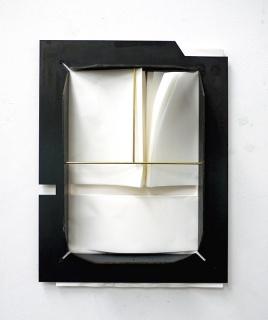 Lucas Simôes, Sem título [desenho desígnio], 2019. Plancha de acero y papel 48 x 37 cm. — Cortesía de la Galería Pelaires