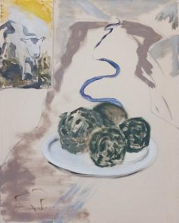 Lars Unkenholz. Und sie entdeckten andere Dinge, 2020. Pigmento sobre lienzo, 40 x 50 cm. — Cortesía de galeria silvestre