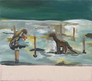Paula Breuer. Einöde, 2020. Acrílico sobre lienzo, 60 x 53 cm. — Cortesía de galeria silvestre