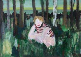 Paula Breuer. Pause, 2021. Acrílico sobre lienzo, 50 x 35 cm. — Cortesía de galería silvestre