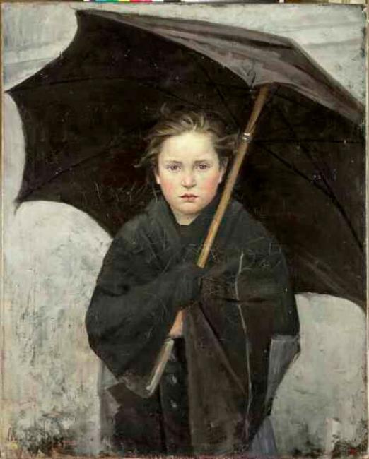 MARÍA BASHKIRTSEFF, El paraguas. 1883. Óleo sobre lienzo. 93 x 74 cm. — Cortesía de Colección Museo Ruso