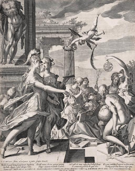 A. Sadeder, MInerva oresenta la Pintura a les Arts LIberals, c. 1600 — Cortesía del Centre Cultural Terrassa