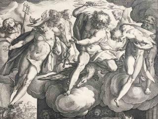H. Goltzius, Venus i Mart sorpresos per Vulcà (detall), 1585 — Cortesía del Centre Cultural Terrassa