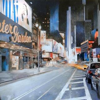 Salvador Montó,  Nueva York. Mamma Mia! 100x100 cm. Acrílico sobre lienzo