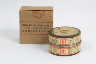 Edgardo Antonio Vigo, Poemas Matematicos (in)Comestibiles, 1968, 2 welded aluminium cans, cardboard box 11x11cm. Courtesy Richard Saltoun gallery