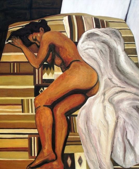 Desnudo en la habitación del taller - óleo sobre lienzo - 120 x 100 cm - 2009
