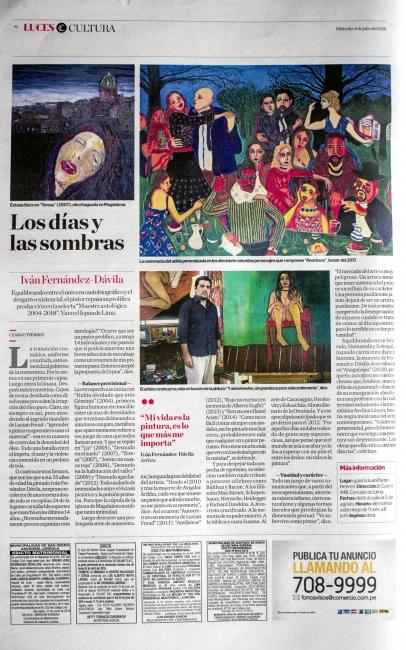 Los días y las sombras. Por Czar Gutiérrez. El Comercio, 04 de julio 2018, Lima