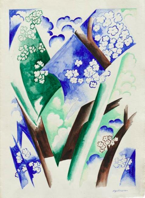 NATALIA GONCHAROVA, Mesa. Abstracción. Principios de la década de 1920. Acuarela sobre papel, 58,1 x 44,4 cm. — Cortesía de Colección Museo Ruso