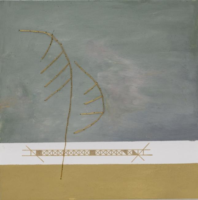 Sandra Antunes Ramos | Sem título | 2019 | tinta óleo, cera para dourar, caneta metalizada e linha metalizada | 20 x 20 cm