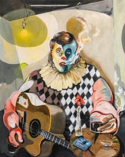Yann Leto. The Clown. Óleo sobre lienzo, 160x200 cm, 2019 — Cortesía de la Galería Herrero de Tejada