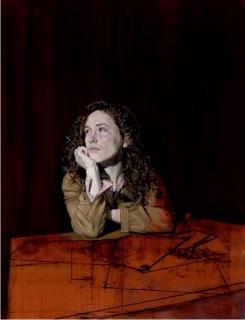 Manuel Díaz Meré, Lucía, am komponieren. (Lucía componiendo) Óleo s/lino. 117 x 90 cm. — Cortesía de la Asociación Española de Pintores y Escultores