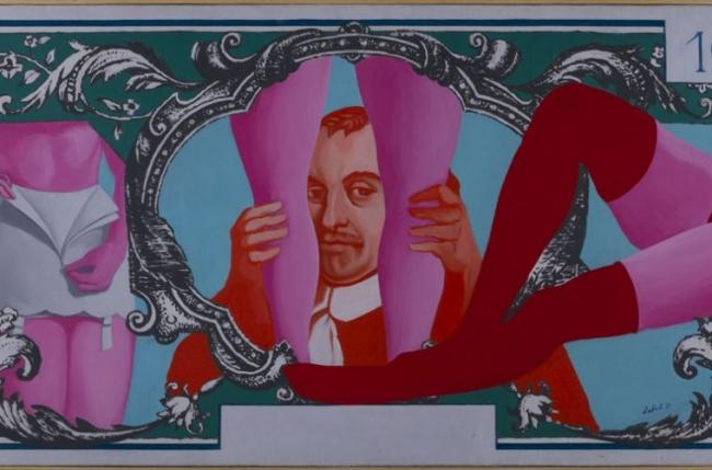 Jean-Claude Latil, L'envers du billet [El reverso del billete], 1971. Óleo sobre tela. Colección MSSA — Cortesía del MSSA