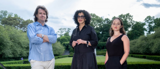 ESTAMOS BIEN: LA TRIENAL 20/21 Curatorial Team (left to right): El Museo del Barrio's Chief Curator Rodrigo Moura, New York-based artist Elia Alba as Guest Curator, and El Museo del Barrio's Curator Susanna V. Temkin. Photo: Michael Palma Mir.