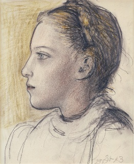 Pablo Picasso, Portrait de Maya de profil, 1943, graphite, chalk, and pastel on vellum paper from spiral notebook, 14 5/8 × 12 1/4 inches (37 × 31 cm) © Succession Picasso 2017