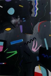 "Lía Ateca, ""Tarot gratis"", 2018. Acrílico sobre lienzo, 120 x 80 cm."